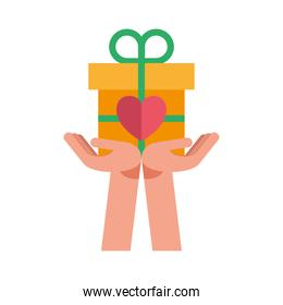 hands lifting heart of love feeling in gift present