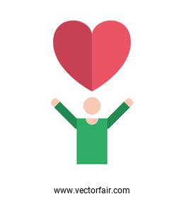 man with heart of love feeling icon
