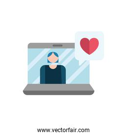 woman and laptop with heart of love feeling in speech bubble