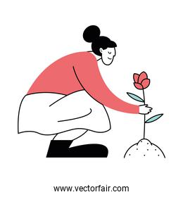 woman planting flower activity character icon