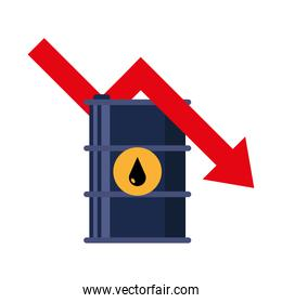 barrel tank with drop and arrow of oil price icon