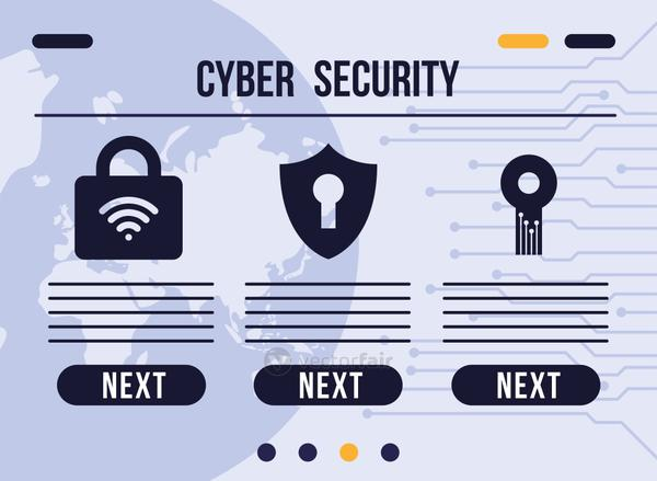 cyber security infographic with set safe icons