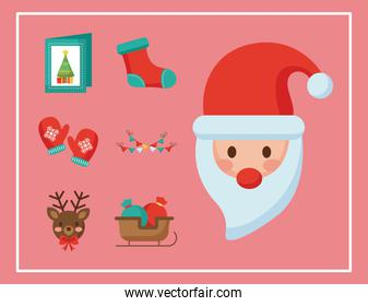 happy merry christmas santa claus and set icons flat style