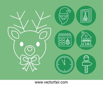 happy merry christmas santa claus and set icons line style