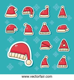 bundle of christmas red santa hats stickers