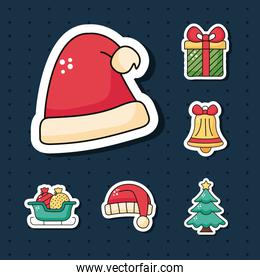 christmas red santa hat sticker with set icons