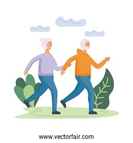 active seniors couple running in the field characters