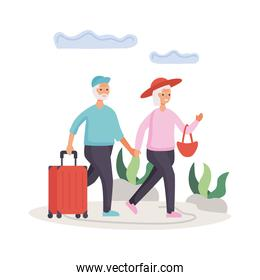 active seniors couple traveling with suitcases characters