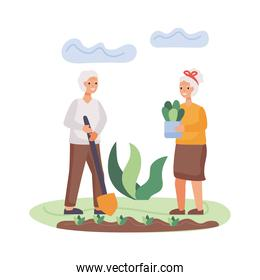 active seniors couple planting tree characters