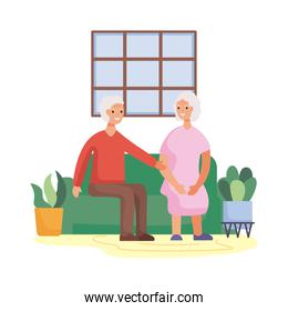 active seniors couple in the livingroom characters