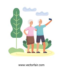 active seniors couple take a selfie characters