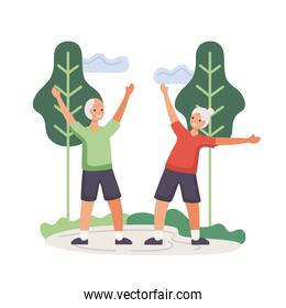 active seniors couple practicing exercise characters