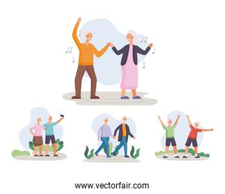 four active seniors couples practicing activities characters