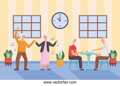 active seniors couples dancing and playing ludo characters