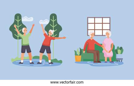 active seniors couples in the camp and livingroom characters
