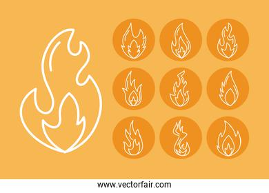 bundle of fires flames line style icons
