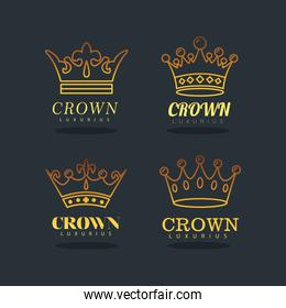 bundle of four golden crowns royal line style icons