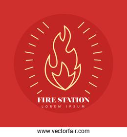 fire flame line style icon in red background