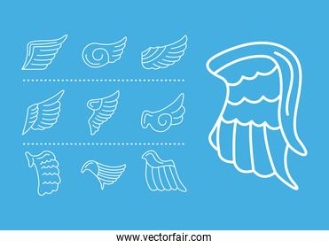 bundle of wings feathers birds line style icons