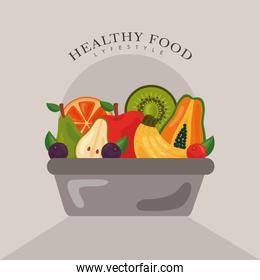 bowl with fresh fruits and vegetables healthy food icons