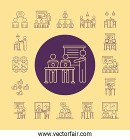 bundle of workers avatars coworking line style icons in yellow background