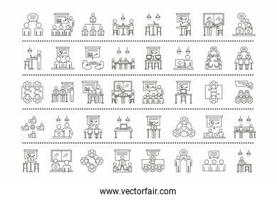 bundle of fourty workers avatars coworking line style icons