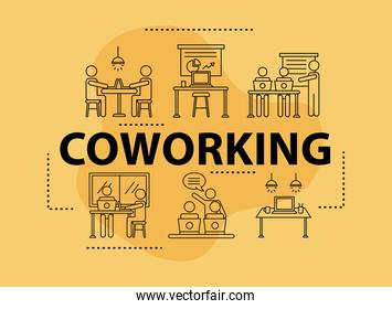 bundle of six workers avatars coworking line style icons