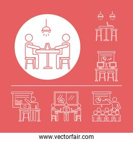 bundle of workers avatars coworking line style icons in red background