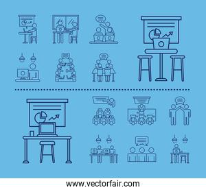 bundle of workers avatars coworking line style icons in blue background