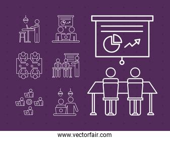 workers avatars coworking line style icons in purple background