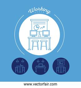 bundle of four workers avatars coworking line style icons in blue background