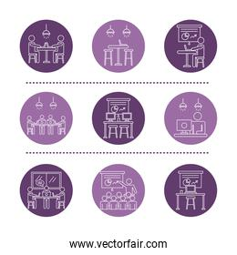 bundle of purple workers avatars coworking line style icons