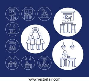 collection of workers avatars coworking line style icons in blue background