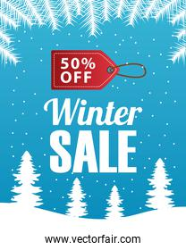 big winter sale poster with tag hanging in snowscape scene