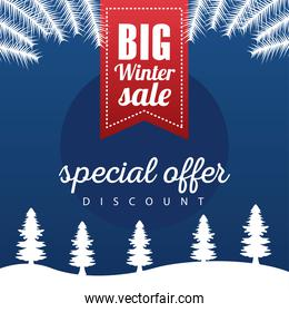 big winter sale poster with ribbon hanging in snowscape