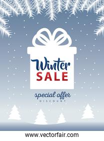 big winter sale poster with lettering in gift present