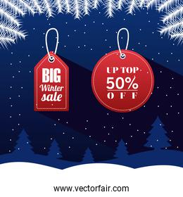 big winter sale poster with letterings in red tags