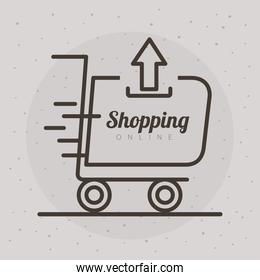 shopping cart trolley with arrow up and lettering line style icon