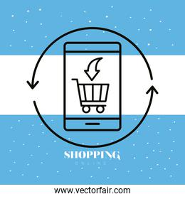shopping cart with arrow in smartphone linear style icon