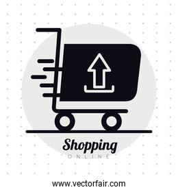 shopping cart trolley with arrow up line style icon and lettering