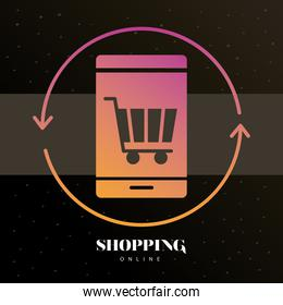 shopping cart with arrow in smartphone line style icon