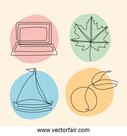 bundle of four elements one line style icons
