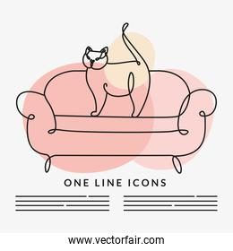 cat in sofa scene one line style icon