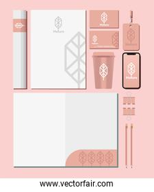 paper document and bundle of mockup set elements in pink background