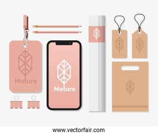 smartphone with bundle of mockup set elements in white background