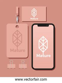 id badge and bundle of mockup set elements in pink background