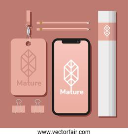id badge with bundle of mockup set elements in pink background