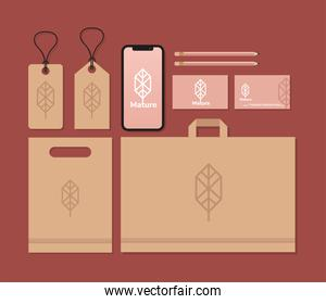 tags hanging and bundle of mockup set elements in red background