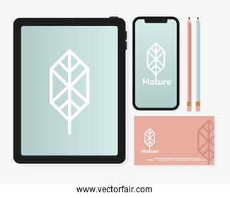 tablet device with bundle of mockup set elements in white background