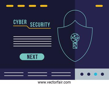 cyber security infographic with padlock shield
